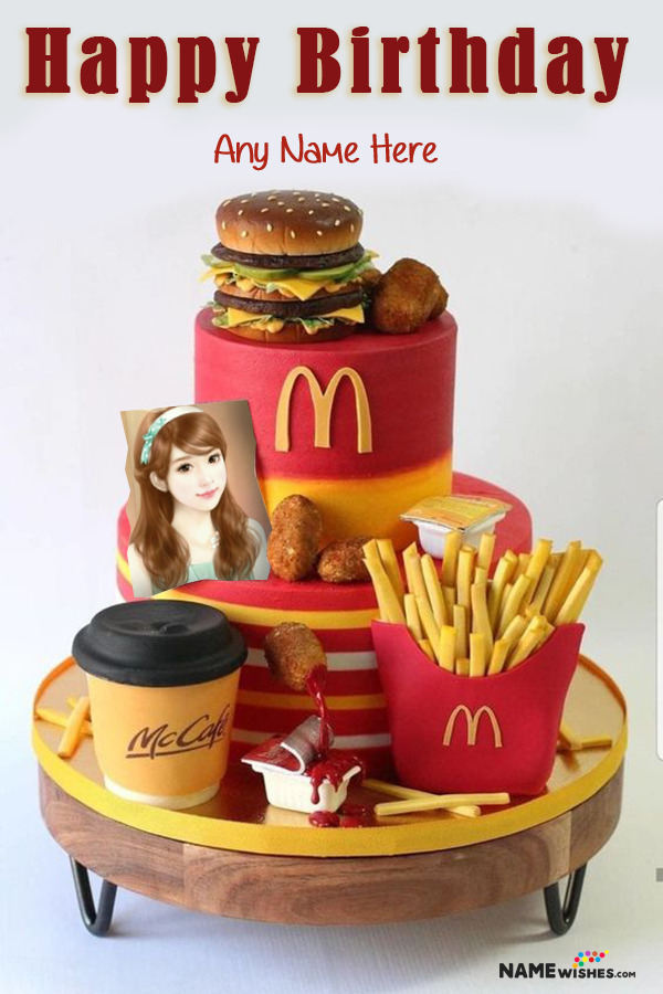 McDonalds Happy Birthday Cake With Name and Photo Editor