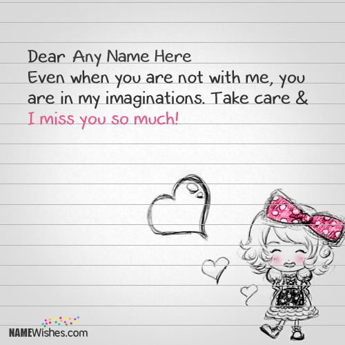 Miss You Paper Note With Name