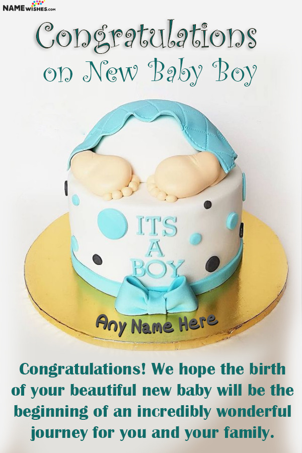 New Born Baby Boy Wishes and Cake With Name For Parents