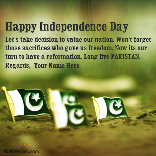New Pakistan Independence Day Wishes With Name