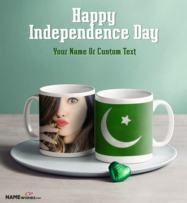 Pakistan Independence Day Mug with Photo and Name Wishes