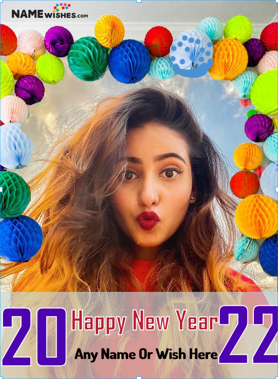 Paper Lanterns New Year Wish With name and Photo Frame Online Edit
