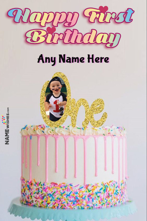 Pink Colorful Sprinkles Happy First Birthday Cake With Name and Photo