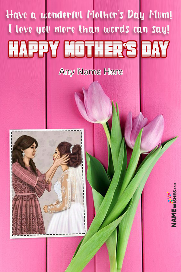 Pink Flowers Mothers Day Wish Background With Name and Pic Edit