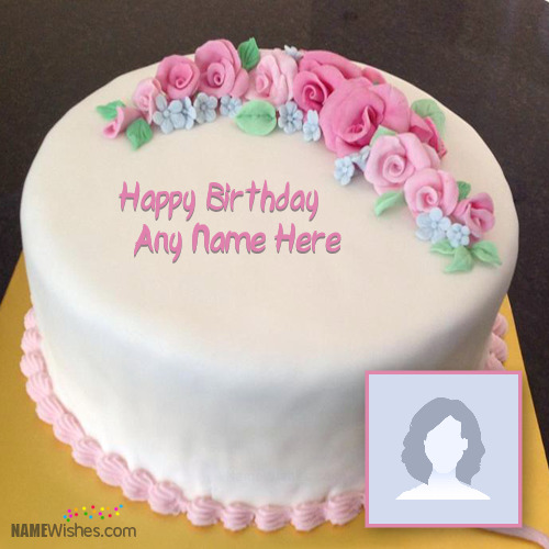 Pink Roses Birthday Cake With Name