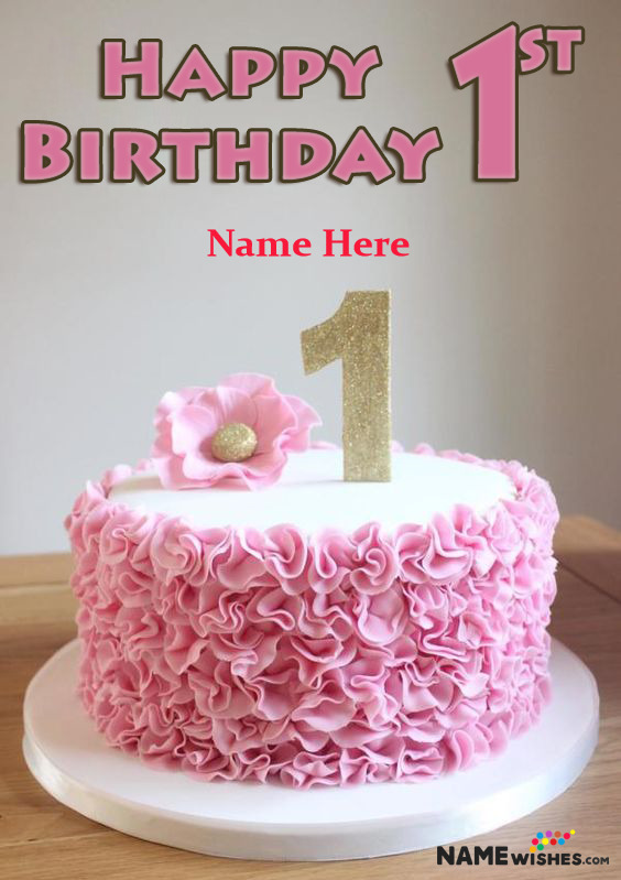 Pink Rosette 1st Happy Birthday Cake With Name Edit For Baby