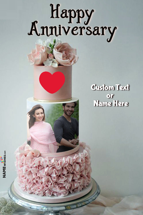 Pink Rosette 3 Tier Anniversary Flowers Cake With Name and Photo