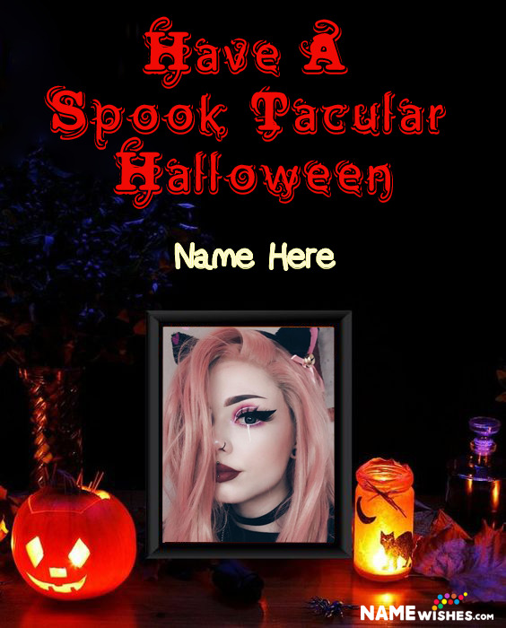 Pumpkin in The Dark Scary Halloween Photo Frame Wish With Name