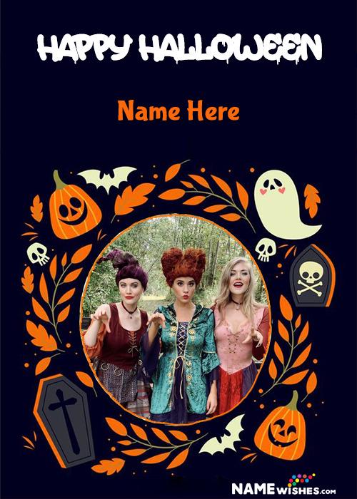 Pumpkin Spoooky Happy Halloween Photo Frame Greetings With Name