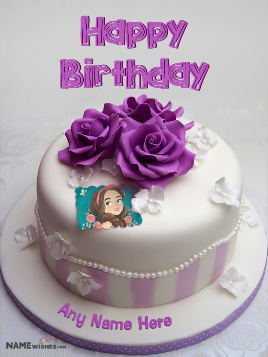 Purple Roses Birthday Cake For Sister Wife or Mother With Photo Name