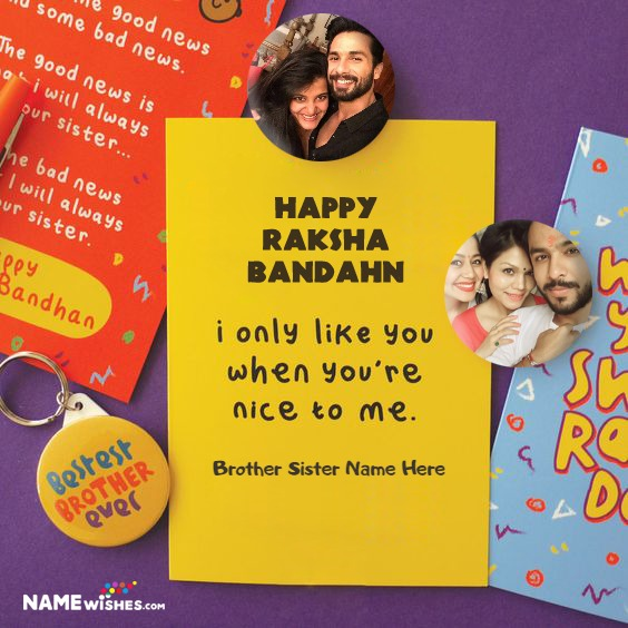 Raksha Bandhan Card With Name Photo Badges Gift