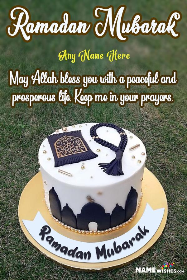 Ramadan Mubarak Cake With Wish and Name Edit Online