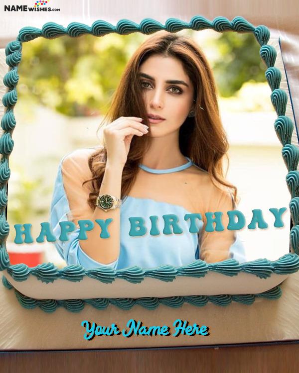 Rectangular Vanilla Birthday Cake With Name and Photo Frame