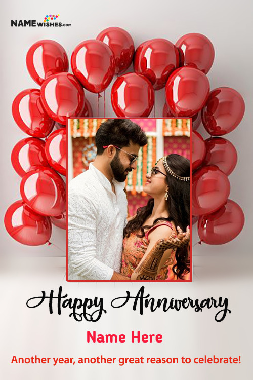 Red beautiful Balloons BackDrop Photo Frame Anniversary Wishes With Name