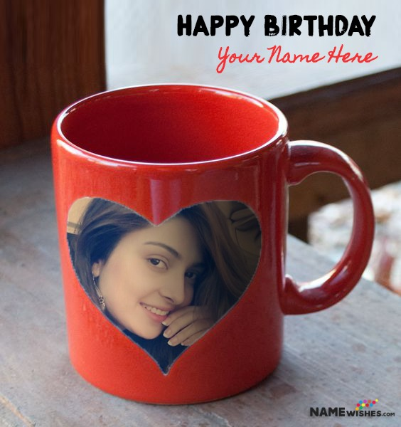 Red Birthday Mug With Photo and Name - Personalized Gift