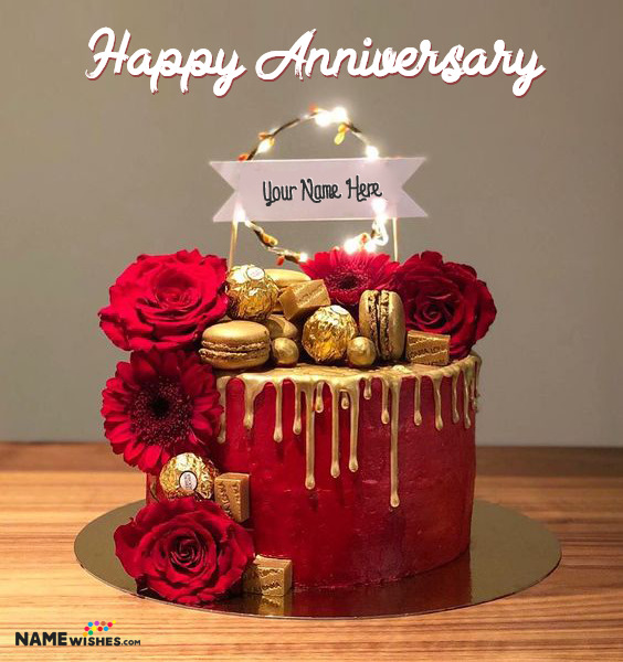 Red Love Anniversary Cake With Name and Photo Edit