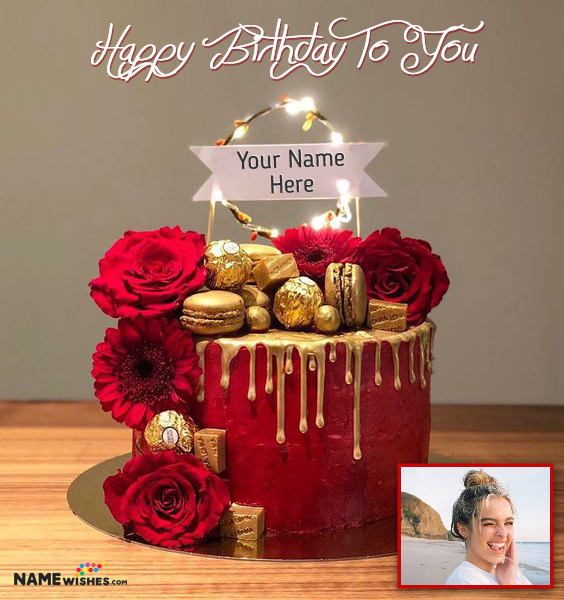 Red Love Birthday Cake With Name Edit