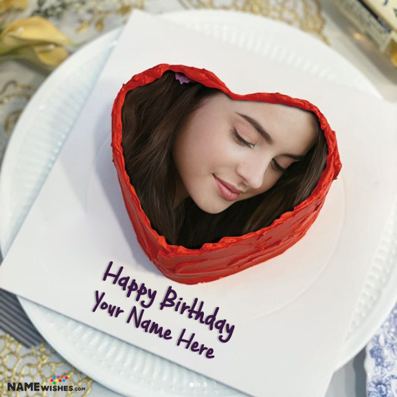 Red Velvet Heart Birthday Cake With Photo Name