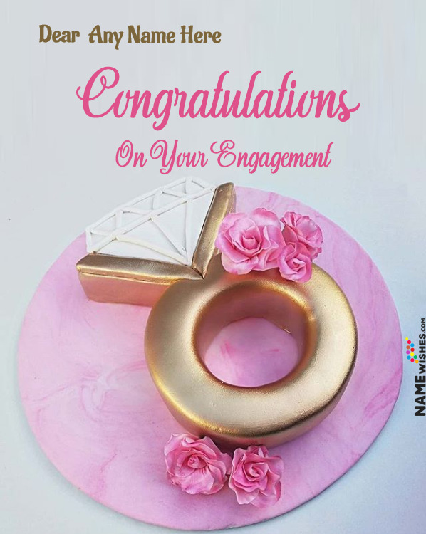 Ring Cake For Engagement Wishes With Name For Friends or Family