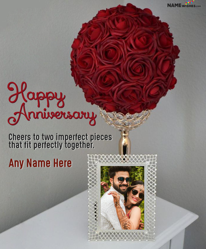 Rose Bouquet Anniversary Wish with Name and Photo Frame