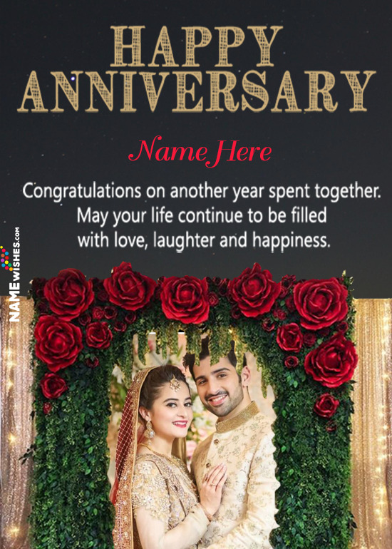 Rose Floral Arc Wedding Anniversary Photo Frame Wish With Name