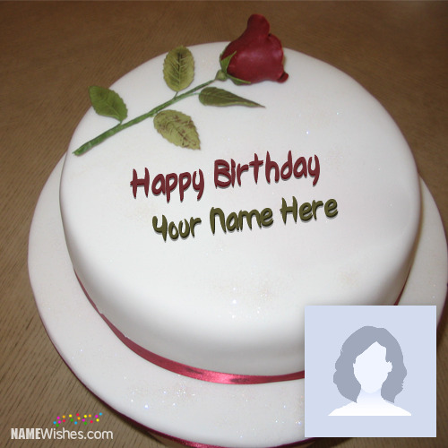 Rose Ice cream Birthday Cake With Name