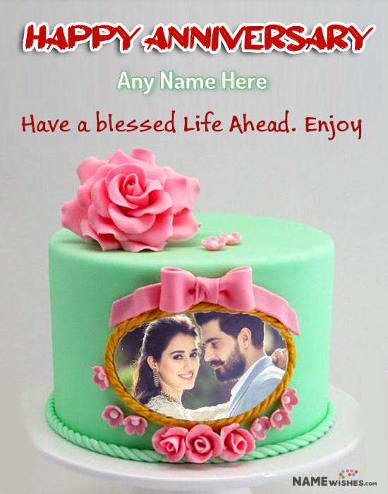 Royal Rose Anniversary Cake with Name and Photo - Couple Cake