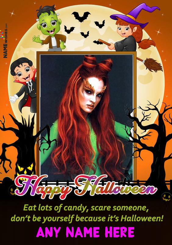 Scary Halloween Wish With Photo Frame and Name Edit Online