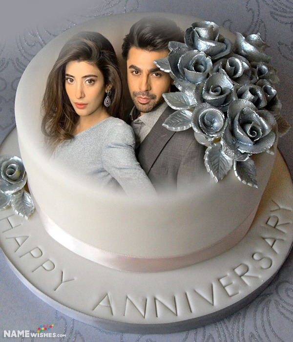Silver Anniversary Cake With Name and Photo
