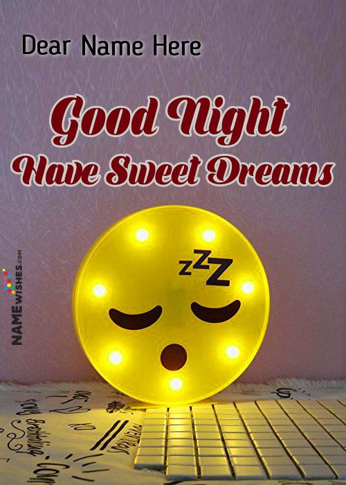 Sleepy Emoji Good Night Wish To Love With Name Free Edit Online