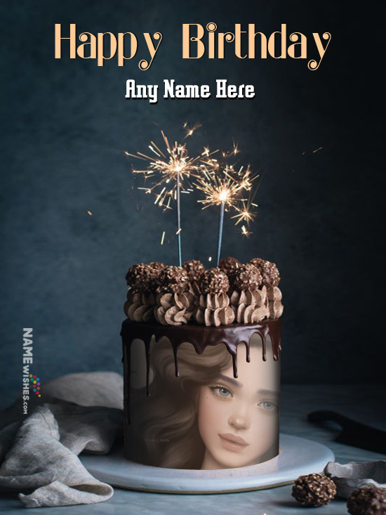 Sparking Birthday Chocolate Cake For Friends To Writer Name and Photo