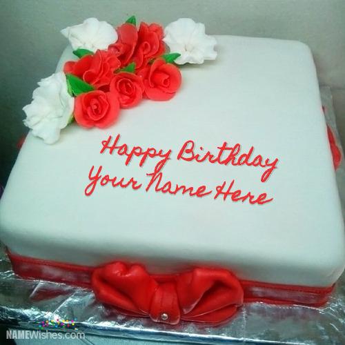 Square Red Velvet Birthday Cake With Name