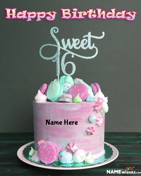 Sweet Sixteen Happy Birthday Lovely Colorful Cake With Name