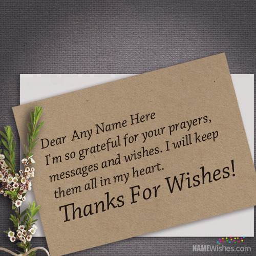 Thank You For Wishes Card With Name