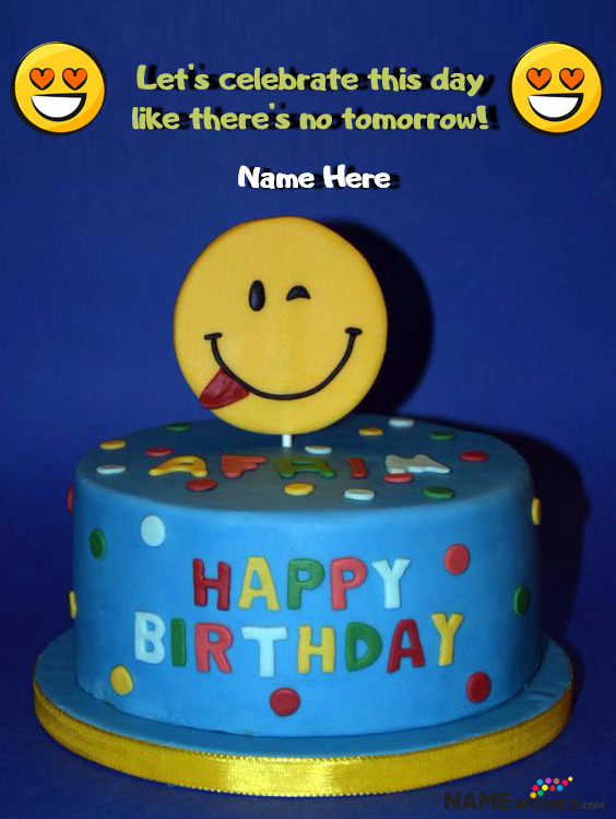 Tongue Smiley Emoji Birthday Cake With Name For Friends