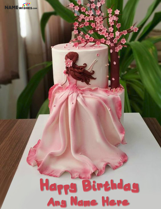 Unique Girly Birthday Cake With Name For Wife Sister or GirlFriend