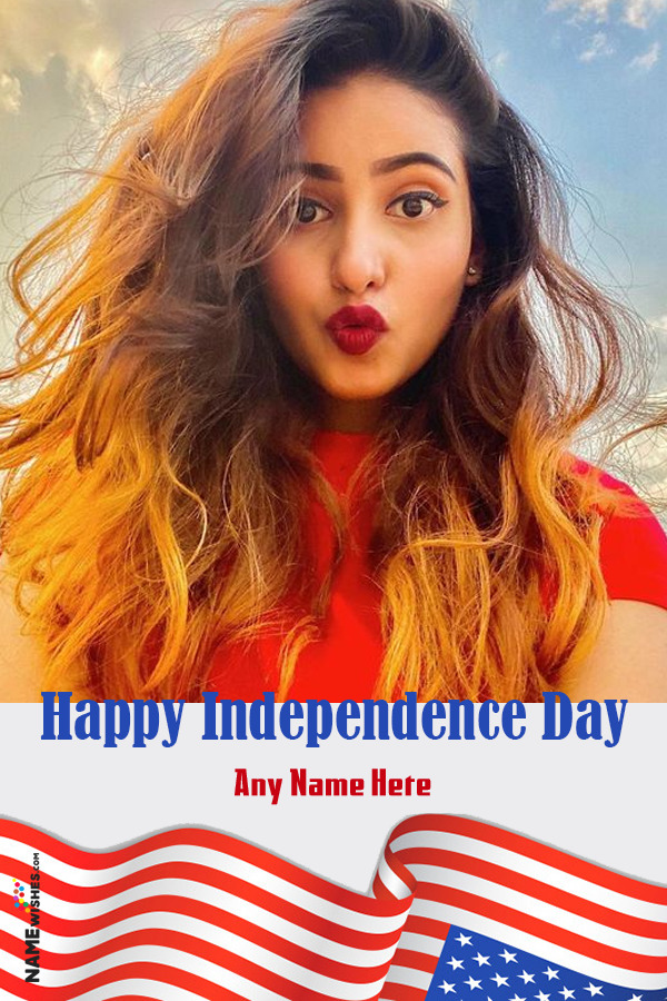 USA Independence Day Photo Frame Wish With Name