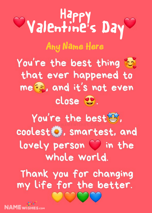 Valentines Day Whatsapp Message With Name For Everyone