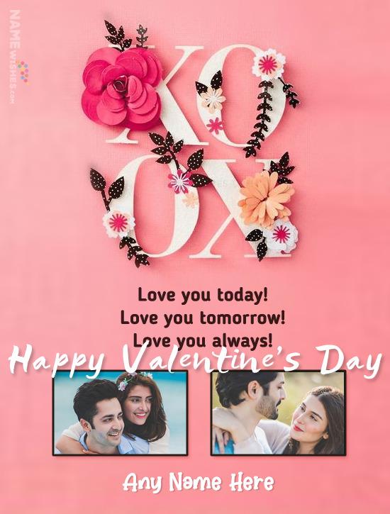 Valentine's Day Wish With Name and Photo XOXO