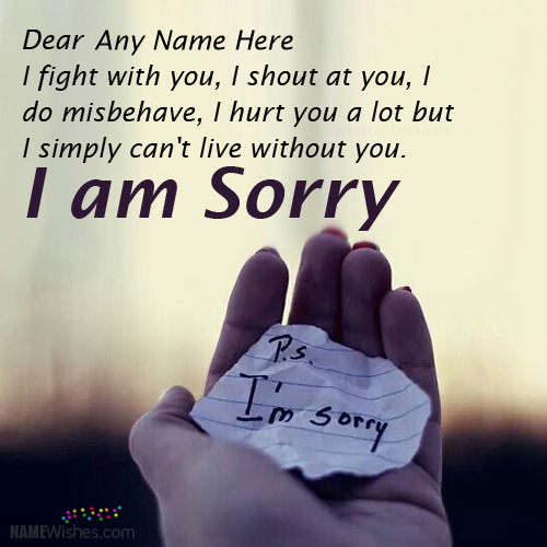 Write Any Name on Cool Sorry Image