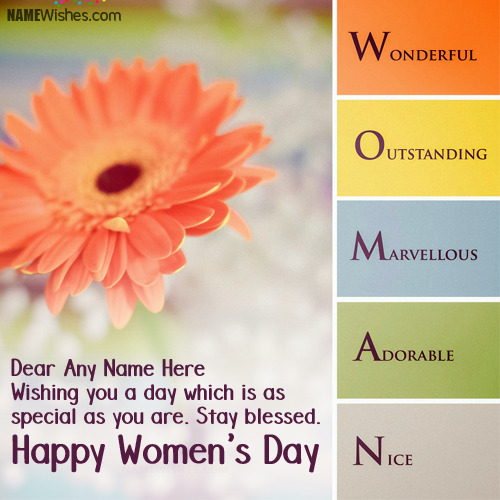 Write Anyone's Name on International Women's Day Wishes