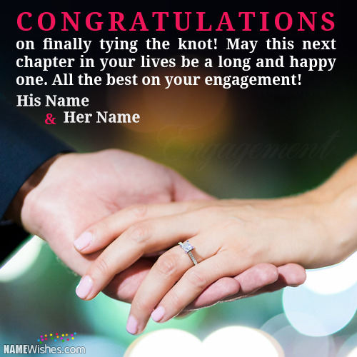 Write Couple Names On Engagement Wishes