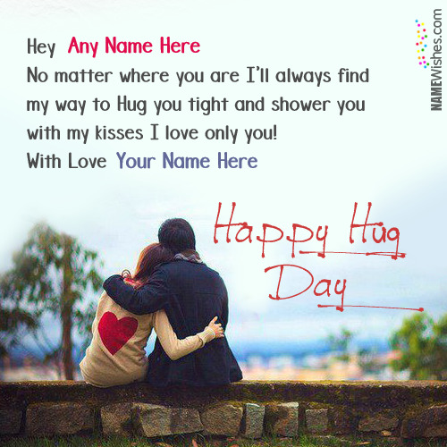 Write Couple Names On Happy Hug Day Wishes