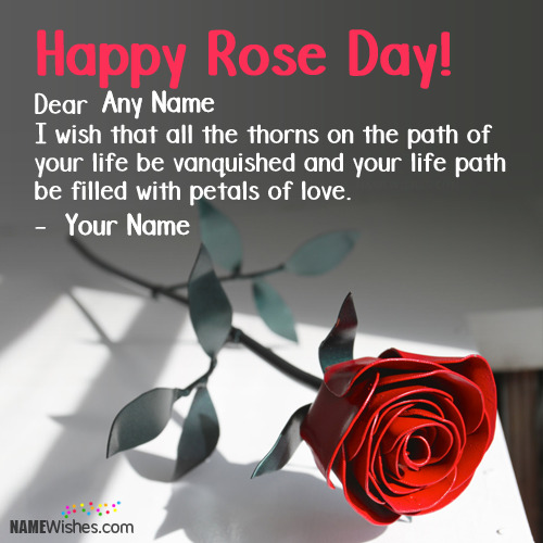 Write Couple Names On Happy Rose Day Wishes