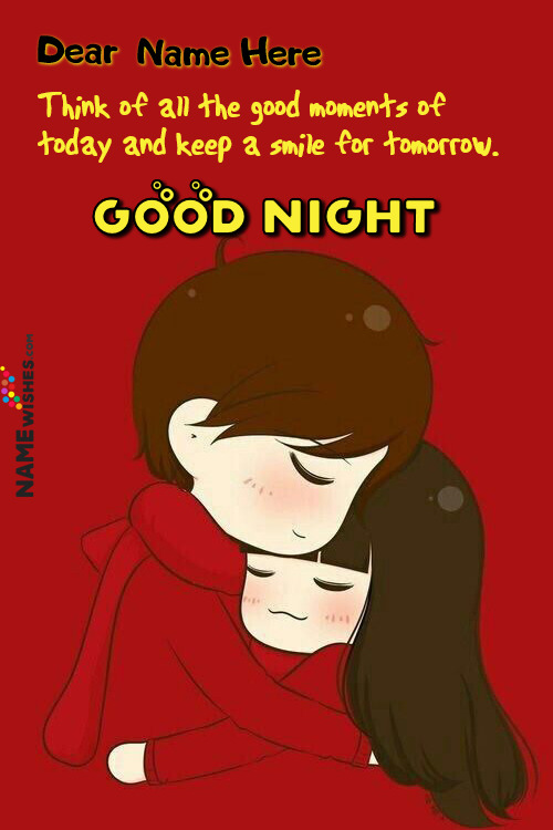 Write Name on Good Night Wishes With Nice Quote
