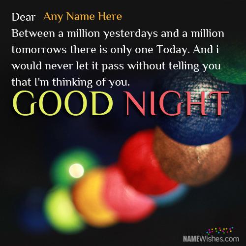 Write Name on Good Night Wishes