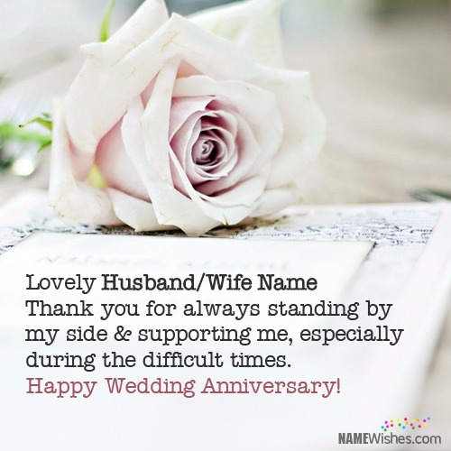 Write Name on Happy Anniversary Wishes