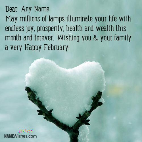 Write Name On Happy February Wishes