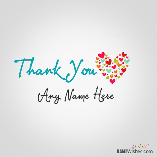 Write Name on Thank You Heart Image