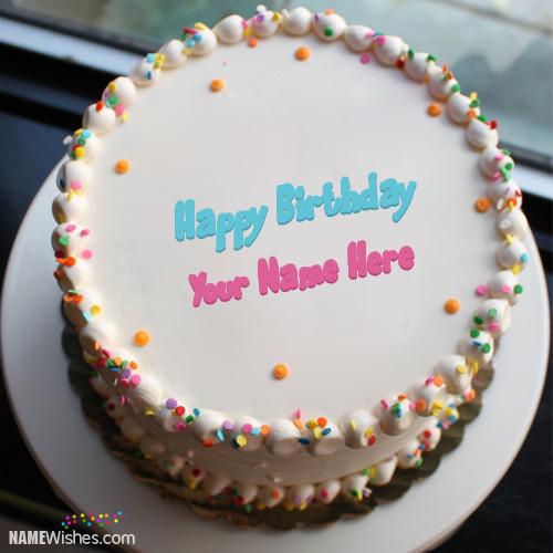 Write Your Name On Sprinkle Birthday Cake